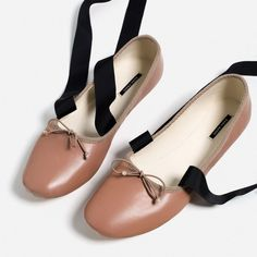 LACE-UP LEATHER BALLET FLATS-Flats-SHOES-WOMAN   ZARA United States