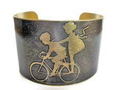 Kids on Bike brass cuff bracelet by UniqueArtPendants on Etsy. $30.00, via Etsy.