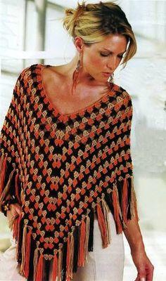 Delicadezas en crochet Gabriela: Poncho ganchillo esquema