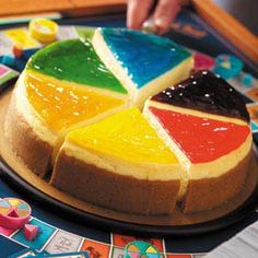 Trivial Pursuit Cheesecake - cute idea - not sure I'd use the recipe, but like the decorating idea for a game night.