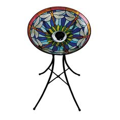 """Solar Dragonfly Glass Bird Bath (Stand NOT included) SKU# 492GB201 18"""" x 18"""" x 2.75"""" Made of durable glass Great for yourself or as a gift  Stand sold separately A stunning decorative piece for your garden List Price: $55. Sale Price: $45. You save: $10. (18%)"""
