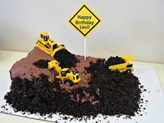 Motorcross or bmx dirt track /Tractor/Construction Birthday Party- Fun ideas for invitation, cake etc. Construction Birthday Parties, Construction Party, 3rd Birthday Parties, Birthday Fun, Birthday Cake, Rice Krispies, Cupcakes, Cupcake Cakes, Dirt Cake