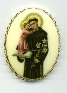 St. Saint Anthony 40x30MM Cameo Pin With Holy Card and Velour Bag by E's Guardian Angel. $11.99. This Saint Anthony with Baby Jesus Cameo Pin has great detail and comes with a Velour Bag to keep it in. The vintage cameo itself is 40 MM by 30MM and the pinback setting is goldplated and is 1 1/2 by 1 1/8 Inches in Size.  MEASUREMENTS OF UNSET CAMEOS: ALL ITEMS ARE MEASURED IN MM: I INCH EQUAL ABOUT 28MM. 40X30 CAMEO IS ABOUT 1.5 INCHES BY 1 3/8 INCHES. 25X18MM CAMEO IS ABO...