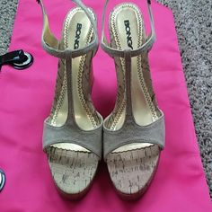 Tan suede wedges Cute and comfortable wedges. Great Condition. Great for summer  BONGO Shoes