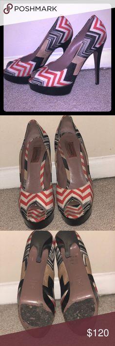 Missoni signature pumps Missoni open toe pumps with the signature pattern. Size 39. Missoni Shoes Heels