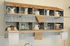 Using Industrial Items as Unique Decor - rustic - dining room - other metro - Buckets of Burlap. An old nesting box used for storage. Country Decor, Rustic Decor, Farmhouse Decor, Farmhouse Style, Industrial Farmhouse, Primitive Decor, Farmhouse Ideas, Farmhouse Design, American Farmhouse