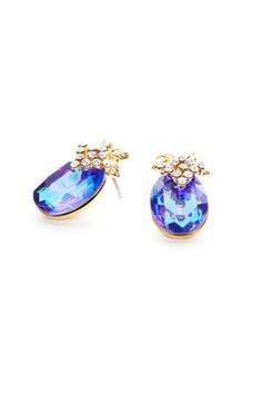 Bedazzled with circular crystals, these gold-toned earrings add a pop of purple while grape vine detailing add a unique touch.pin-in.    Dimensions 1.5 x 0.3 x 2.4 cm   Gold-Tone Crystal Earrings by NAMES Accessories. Accessories - Jewelry - Earrings Canada