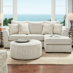 "SM8192 2 pc Canora grey saltney ivory chenille fabric sectional sofa with chaise. This set features a chenille fabric upholstery with pillow backs. Sectional measures 95 1/2"" x 67"" L x 38"" D x 39"" H . 23 1/2"" seat depth, 20 1/2"" seat height. Some assembly may be required. Sectional Ottoman, Chair And Ottoman, Upholstered Ottoman, New Living Room, Living Room Sets, Living Room Chairs, Local Furniture Stores, Furniture Deals, Furniture Removal"