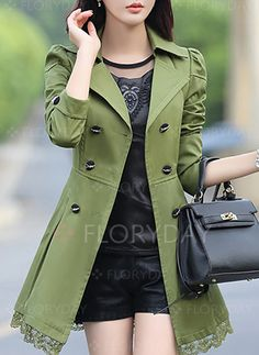 2017 New Women s Lace Lap Style Solid Colour Double Breasted Long Coat  Female Spring Slim Trench Coat Slim Windbreaker 5754822ebe29