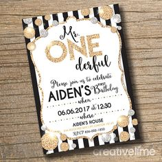 PRINTABLE 1st Birthday Invitation Mr Onederful by creativelime