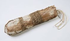 Virginia Kaiser - Memory bag - paperbark, red hot poker string and natural rattan core, 52 x 15 x 15cm