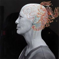 artwork by my buddy pinky bass - fibers sewn on photo - pictured here - her sister photographed while battling cancer. This is the correct url for attribution:http://thecoralroom.blogspot.com/2009/09/pinky-bass-photographer.html