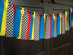 Race Car Rag Tie Fringe Garland Banner Bunting by TheFrozenApple