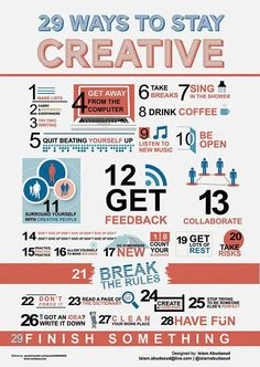 29 Ways to Stay Creative [Infographic] web design, website design, creative, inspiration E-mail Marketing, Marketing Digital, Affiliate Marketing, Content Marketing, Internet Marketing, Online Marketing, Cv Inspiration, Creative Inspiration, Creative Ideas