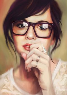 Mye Lim {contemporary artist brunette woman head with eyeglasses face portrait digital painting}. Great inspiration for hair cut and style that will work with glasses. Girl Pose, Design Spartan, Looks Style, My Style, Four Eyes, Girls With Glasses, Bangs And Glasses, Glasses Style, Ray Ban Sunglasses