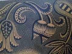 Blue and cream textile.