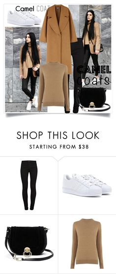 """Camel Coats"" by melihaspahic1 ❤ liked on Polyvore featuring J Brand, adidas, Diane Von Furstenberg and Warehouse"