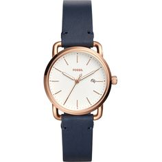 Fossil The Commuter Three-Hand Date Leather Watch - Navy(Navy) -... ($115) ❤ liked on Polyvore featuring jewelry, watches, blue, buckle jewelry, navy jewelry, blue watches, leather watches and navy blue watches