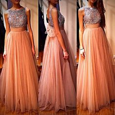 2014 New Sexy Style Beaded Tulle Custom Long Prom Gowns Formal Evening Dresses
