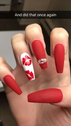 30 Eye-catching Red Nail Art Designs to Show Your Style; red coffin na Red Nail Art, Red Acrylic Nails, Acrylic Nail Designs, Cool Nail Art, Nail Art Designs, Red Matte Nails, Acrylic Art, Gold Nail, Dark Nails