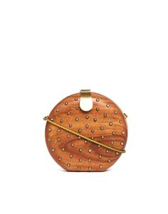 FRENCH CONNECTION : Spot Stud Clutch Bag - Made from wood, Round design, Studded detailing, Internal zipped pocket, Detachable body strap | via ASOS