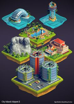 Isometric buildings: City Island Airport 2 by Ugis Brekis, via Behance Game Design, Bg Design, Art Isométrique, Cg Art, Isometric Art, Isometric Design, Low Poly, Game Concept Art, Environment Design