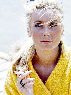 Catherine Deneuve on the set of 'La Chamade', photographed by Jack Garofalo, St. Tropez, 1968.