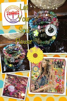 Let Your Soul Flower: five wrap beaded memory wire bracelet with metal stamped charm on Etsy, $40.00