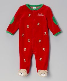Red 'My First Christmas' Bear Velour Footie - Infant | Daily deals for moms, babies and kids