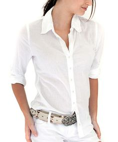 Take a look at this White Sheer Button-Up by Cino on #zulily today!