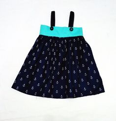 Anchors Girl Dress  #ToddlerDress by LoopsyBaby #nautical #kidsclothes #summer  #loopsybaby #anchorsdress #turquoisedress #nauticaldress