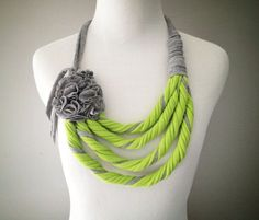 Lime Green Grey Tshirt Necklace with flower - Infinity Scarf - by embelLUSHme… Yarn Necklace, Fabric Necklace, Crochet Necklace, Beaded Necklace, Necklaces, Scarf Shirt, T Shirt Yarn, Shirt Scarves, Textile Jewelry
