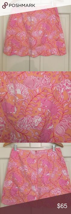 Lily Pulitzer Cat Print Mini Skirt Orange and Pink Scallop Hemmed Cat Print. This print is probably 15 years old and have not seen it anywhere else in 10 years. Lilly Pulitzer Skirts Mini