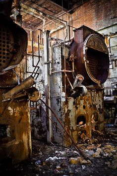 Used to climb on, in, and work on a few these fine pieces of equipment...  Steampunk industrial decay studio decor factory rust pipes steam rustic abandoned the past The boiler room fine art photograph. $25.00, via Etsy.