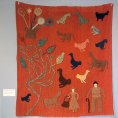 from the 10th anniversary exhibition of the American Antiques show at the American Folk Art Museum, NYC  Wall hanging by Granny Donaldsonhttp://designintell.vandm.com/