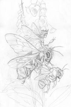 Bergsma Gallery Press :: Paintings :: Originals :: Original Sketches :: 2014/Bee Fairy - Original Sketch