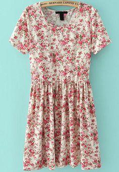 vestido plisada floral-Sheinside
