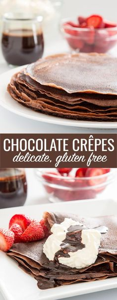 Learn to make chocolate gluten free crêpes with this easy recipe. Fill with fresh whipped cream and drizzle with chocolate sauce for the perfect dessert! | Even if you don't have to eat gluten free, this crepe recipe is worth trying because it's so good.