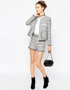 Image 4 of ASOS Jacquard Blazer with Zip and Fringe Detail Co-ord