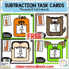 Free Subtraction Task Cards | Halloween by Carrie Lutz - Classroom Callouts Halloween Math, Halloween Themes, Task Cards, Carrie, Worksheets, Classroom, Positivity, Free, Class Room