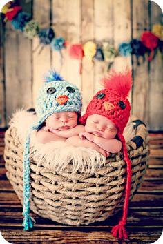 Newborn Twin Bird Hats. $50.00, via Etsy.