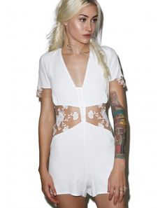 #DollsKill #lookbook #photoshoot #model #ForLoveAndLemons #FLL #myfll #Elenora #romper #white #playsuit #shortsleeve #shorts #buttons #buttonup #lace #floral #flowers #cutout #cute
