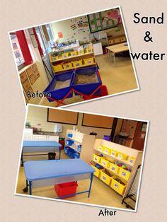 Sand and water area Eyfs Classroom, Classroom Layout, Classroom Organisation, School Classroom, Classroom Decor, Sensory Table, Sensory Play, Gooseberry Bush, Nursery Layout