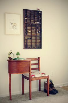 i love the letterpress drawer on the wall.
