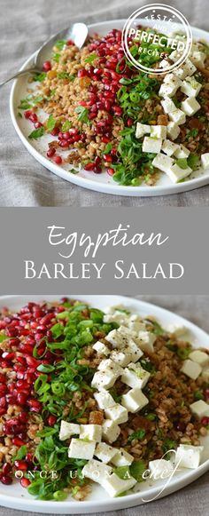 Inspired by the flavors of Egypt, the salad contains crunchy pistachios, tangy pomegranate molasses, and cilantro, all balanced by warm, earthy spices and sweet golden raisins. Chunks of feta, scallions, and pomegranate seeds adorn the top of the dish, making a gorgeous composed salad with lively flavors and textures. It's wonderful! #saladrecipes #barley #testedandperfected