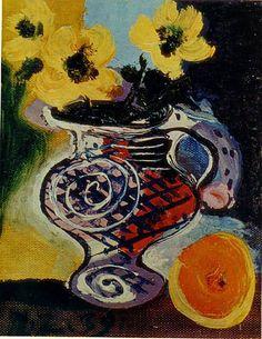 """Untitled, 1939, Pablo Picasso.""""J'ai d'abord vu les fleurs, puis le vase, puis une pastèque. Un enfant me dit qu'il y a un singe et une maison au loin. J'aimerai encore Picasso""""."""