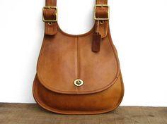 39cd6bca5d06 Vintage Coach Bag // Coach Saddle Crescent Bag in Tan Leather // Boho Bag  // New York City
