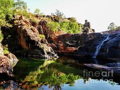 Rock Pool Gumlon.  Kakadu National Park is a TIMELESS WILDERNESS.  Wetlands, Waterfalls, Rock Scapes, Rocks Pools,  Ancient Rock Art, Crocodiles and Birds...a TIMELESS LAND. UNESCO World Heritage Listed for both natural and cultural significance to humanity.  Visit my photo gallery and get a beautiful Fine Art Print, Canvas Print, Metal or Acrylic Print. 30 days money back guarantee on every purchase so don't hesitate to bring some 'TIMELESS WILDERNESS' in your home or office! #landscape