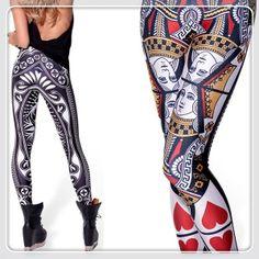 Wholesale New 2014 Fitness Women Space Print QUEEN OF HEARTS LEGGINGS Jeans Pants Trousers Digital Print Galaxy Leggings $21.98