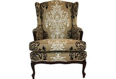 Master Suite Remodel - Lucia Wing Chair, Love the mix of old with the fresh, new fabric. Good for French Country bedroom.